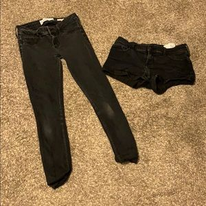 Black shorts and black jeans